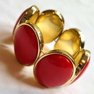 Bracelet, Vintage style red and gold costume jewelry statement piece
